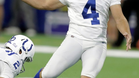 <p>               FILE - In this Aug. 20, 2018, file photo, Indianapolis Colts kicker Adam Vinatieri (4) warms up before an NFL preseason football game against the Baltimore Ravens, in Indianapolis. Vinatieri has figured out how to thrive in pretty much every element. So perhaps it would be fitting if Vinateiri breaks Morten Andersen's career field goal record in potentially rainy, windy Washington on Sunday, Sept. 16, 2018. (AP Photo/Darron Cummings, File)             </p>