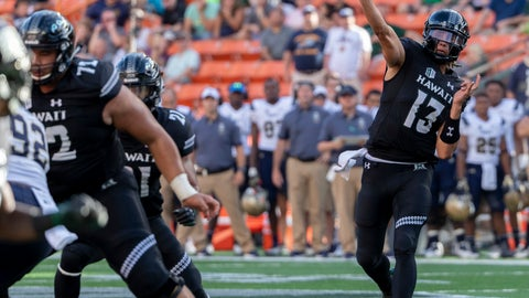<p>               Hawaii quarterback Cole McDonald (13) throws a pass to wide receiver Cedric Byrd for a touchdown In the first half of an NCAA college football game against Navy, Saturday, Sept. 1, 2018, in Honolulu. (AP Photo/Eugene Tanner)             </p>