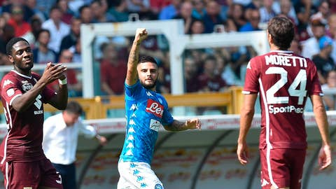 <p>               Napoli's Lorenzo Insigne celebrates after scoring during the Serie A soccer match between Torino and Napoli in Turin, Italy, Sunday, Sept. 23, 2018. (Alessandro Di Marco/ANSA via AP)             </p>