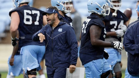 <p>               FILE - In this Aug. 3, 2018, file photo North Carolina coach Larry Fedora directs his team during an NCAA college football practice in Chapel Hill, N.C. Fedora's Tar Heels are playing the second of two road games to start the season when they visit East Carolina on Saturday. (AP Photo/Gerry Broome, File)             </p>