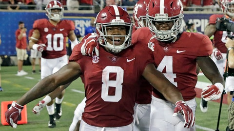 <p>               FILE - In this Sept. 1, 2018, file photo, Alabama's Josh Jacobs (8) celebrates his 77-yard touchdown run against Louisville with teammates including wide receiver Jerry Jeudy (4) during the second half of an NCAA college football game,in Orlando, Fla. Offenses around the SEC made a statement the rest of Power Five leagues can't help but notice _ and left little doubt they have the offensive firepower to light up scoreboards all year after their impressive performances in Week 1. (AP Photo/John Raoux, File)             </p>