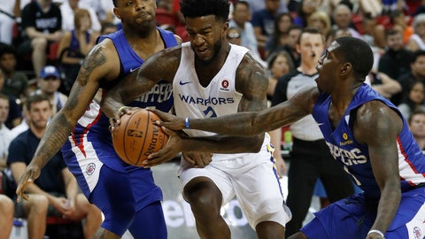 <p>               FILE - In this July 6, 2018 file photo, Golden State Warriors' Jordan Bell, center, drives between Los Angeles Clippers' Sindarius Thornwell, left, and Jawun Evans during the first half of an NBA summer league basketball game in Las Vegas. Bell had pushed his body to the brink, to exhaustion one mid-August day with far from enough food and fuel. He did Soul Cycle, weights and conditioning, then a couple hours of open gym in Los Angeles, his regular routine all summer to get ready for his second season with the NBA champion Warriors.. (AP Photo/John Locher, File)             </p>