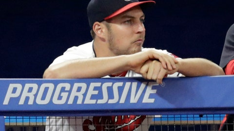 <p>               FILE - In this July 10, 2018, file photo, Cleveland Indians pitcher Trevor Bauer watches from the dugout during the ninth inning of a baseball game against the Cincinnati Reds in Cleveland. Bauer threw off the mound this week as he continues to recover from a stress fracture in his right leg. He is hoping to be back in time to help the Indians in the postseason. (AP Photo/Tony Dejak, File)             </p>