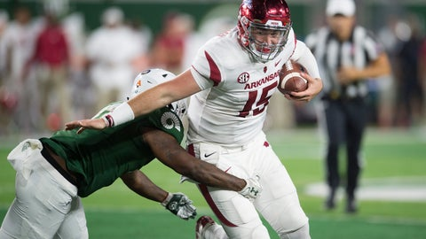 <p>               Arkansas quarterback Cole Kelley avoids a tackle by Colorado State linebacker Trey Sutton during the first half of an NCAA college football game Saturday, Sept. 8, 2018, in Fort Collins, Colo. (Austin Humphreys/Fort Collins Coloradoan via AP)             </p>