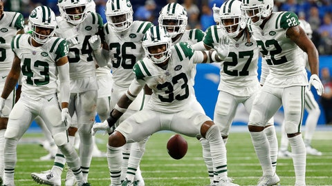<p>               New York Jets defensive back Jamal Adams (33) celebrates his interception with teammates during the second half of an NFL football game against the Detroit Lions in Detroit, Monday, Sept. 10, 2018. (AP Photo/Rick Osentoski)             </p>