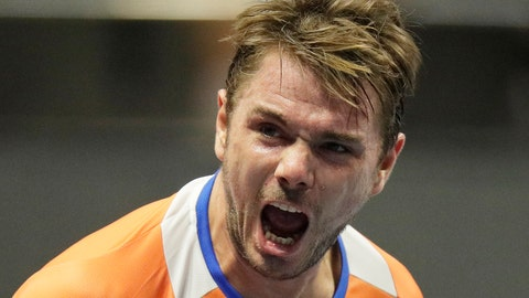 <p>               Stan Wawrinka of Switzerland reacts during the St. Petersburg Open ATP tennis tournament match against Karen Khachanov of Russia in St.Petersburg, Russia, Wednesday, Sept. 19, 2018. (AP Photo/Dmitry Lovetsky)             </p>