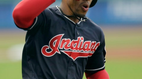 <p>               Cleveland Indians' Francisco Lindor salutes as he runs the bases after hitting a solo home run off Kansas City Royals starting pitcher Danny Duffy during the first inning of a baseball game Tuesday, Sept. 4, 2018, in Cleveland. (AP Photo/Tony Dejak)             </p>