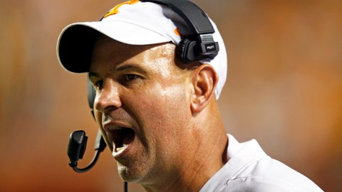 <p>               Tennessee head coach Jeremy Pruitt yells at an official in the second half of an NCAA college football game against Florida, Saturday, Sept. 22, 2018, in Knoxville, Tenn. (AP Photo/Wade Payne)             </p>