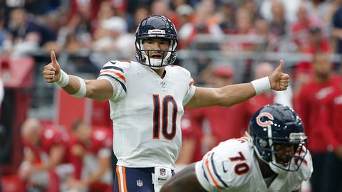 <p>               FILE - In this Sunday, Sept. 23, 2018, file photo, Chicago Bears quarterback Mitchell Trubisky signals during the second half of an NFL football game against the Arizona Cardinals, in Glendale, Ariz.  The Chicago Bears own sole possession of the NFC North lead for the first time since late in the 2013 season. (AP Photo/Rick Scuteri, File)             </p>