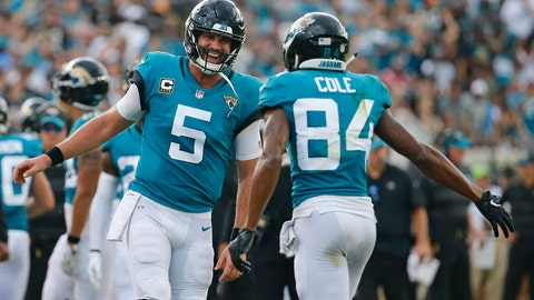 <p>               Jacksonville Jaguars quarterback Blake Bortles (5) celebrates his touchdown pass to wide receiver Keelan Cole (84) during the first half of an NFL football game against the New England Patriots, Sunday, Sept. 16, 2018, in Jacksonville, Fla. (AP Photo/Stephen B. Morton)             </p>