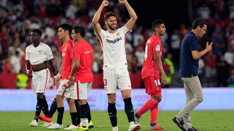 <p>               Sevilla's Sergi Gomez waves at the end of the match during La Liga soccer match between Sevilla and Real Madrid at the Sanchez Pizjuan stadium, in Seville, Spain on Wednesday, Sept. 26, 2018. Sevilla won 3-0. (AP Photo/Miguel Morenatti)             </p>