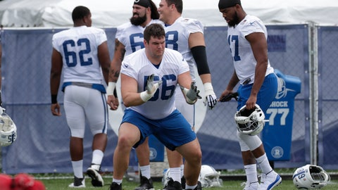 "<p>               FILE - In this July 26, 2018, file photo, Indianapolis Colts offensive guard Quenton Nelson (56) warms up on the first day of practice at the NFL team's football training camp in Westfield, Ind. Nelson heard all the adjectives leading into this spring's NFL draft. The ""experts"" called him nasty, a generational guard, best player available and even suggested he could change the long-term image for all future interior linemen prospects. (AP Photo/Michael Conroy, File)             </p>"