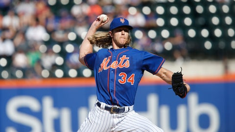 <p>               New York Mets' Noah Syndergaard delivers a pitch during the first inning of a baseball game against the Miami Marlins, Sunday, Sept. 30, 2018, in New York. (AP Photo/Jason DeCrow)             </p>