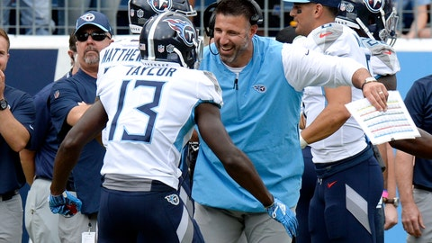 <p>               Tennessee Titans head coach Mike Vrabel celebrates with wide receiver Taywan Taylor (13) after Taylor scored a touchdown against the Houston Texans in the first half of an NFL football game Sunday, Sept. 16, 2018, in Nashville, Tenn. (AP Photo/Mark Zaleski)             </p>