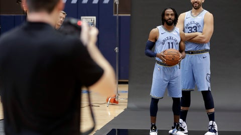 <p>               CORRECTS DATE Memphis Grizzlies guard Mike Conley (11) and center Marc Gasol (33) pose during the team's NBA basketball media day Monday, Sept. 24, 2018, in Memphis, Tenn. (AP Photo/Mark Humphrey)             </p>