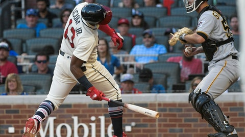 <p>               Atlanta Braves' Ronald Acuna Jr., left, dodges a pitch with Pittsburgh Pirates' Jacob Stallings catching during the fifth inning of a baseball game Sunday, Sept. 2, 2018, in Atlanta. (AP Photo/John Amis)             </p>