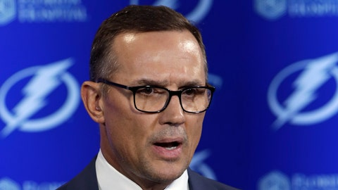 <p>               FILE - In this Feb. 26, 2018, file photo, Tampa Bay Lightning general manager Steve Yzerman gestures during a news conference before an NHL hockey game against the Toronto Maple Leafs, in Tampa, Fla. A person with knowledge of the move says Steve Yzerman is stepping down as general manager of the Tampa Bay Lightning and will be replaced immediately by assistant Julien BriseBois. The person spoke to The Associated Press on condition of anonymity Tuesday, Sept. 11, 2018, because the team had not announced Yzerman's decision.  (AP Photo/Chris O'Meara, File)             </p>