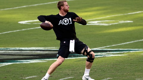 <p>               FILE - In this Sept. 6, 2018, file photo, Philadelphia Eagles quarterback Carson Wentz throws a pass before the team's NFL football game against the Atlanta Falcons in Philadelphia. Wentz will be back under center for the Philadelphia Eagles (1-1) against the Indianapolis Colts (1-1) on Sunday after watching his teammates win the Super Bowl without him in February and missing the first two games of this season. (AP Photo/Michael Perez, File)             </p>
