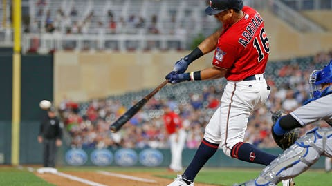 <p>               Minnesota Twins' Ehire Adrianza hits a two-run single off Kansas City Royals pitcher Heath Fillmyer during the second inning of a baseball game Friday, Sept. 7, 2018, in Minneapolis. (AP Photo/Jim Mone)             </p>