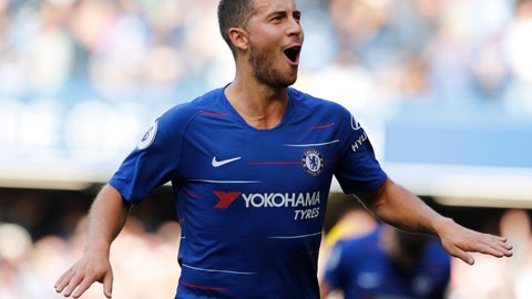 <p>               Chelsea's Eden Hazard celebrates scoring his side's first goal during their English Premier League soccer match between Chelsea and Cardiff City at Stamford Bridge stadium in London Saturday, Sept. 15, 2018. (AP Photo/Alastair Grant)             </p>