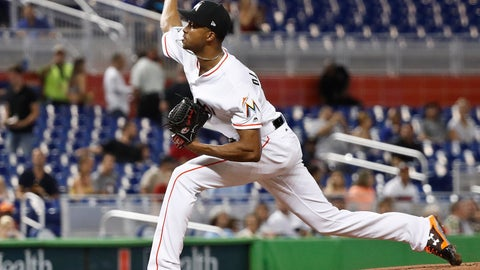 <p>               Miami Marlins' starting pitcher Sandy Alcantara delivers during the first inning of a baseball game against the Philadelphia Phillies, Wednesday, Sept. 5, 2018, in Miami. (AP Photo/Brynn Anderson)             </p>