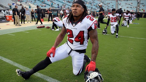 <p>               FILE - In this Aug. 25, 2018, file photo, Atlanta Falcons running back Devonta Freeman (24) stretches before an NFL preseason football game against the Jacksonville Jaguars in Jacksonville, Fla. Freeman has been ruled out for Sunday's game against Carolina because of a knee injury, coach Dan Quinn said Friday, Sept. 14, 2018. (AP Photo/Phelan M. Ebenhack, File)             </p>