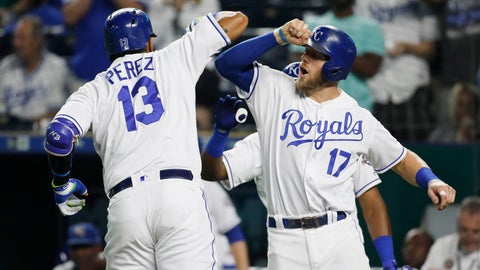 <p>               Kansas City Royals' Salvador Perez (13) is congratulated at home plate by Hunter Dozier (17) after hitting a two-run home run in the sixth inning of a baseball game against the Minnesota Twins at Kauffman Stadium in Kansas City, Mo., Thursday, Sept. 13, 2018. (AP Photo/Colin E. Braley)             </p>