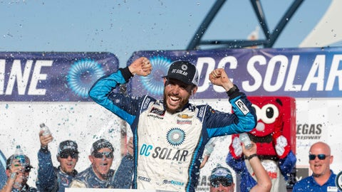 <p>               Ross Chastain celebrates in Victory Lane after winning the DC Solar 300 NASCAR Xfinity Series auto race at Las Vegas Motor Speedway, Saturday, Sept. 15, 2018, in Las Vegas. (Richard Brian/Las Vegas Review-Journal via AP)             </p>