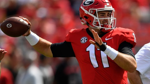 <p>               FILE - In this Sept. 1, 2018, file photo, Georgia quarterback Jake Fromm (11) warms up before the first half of an NCAA college football game against Austin Peay, in Athens, Ga. Middle Tennessee plays at No. 3 Georgia on Saturday. (AP Photo/Mike Stewart, File)             </p>