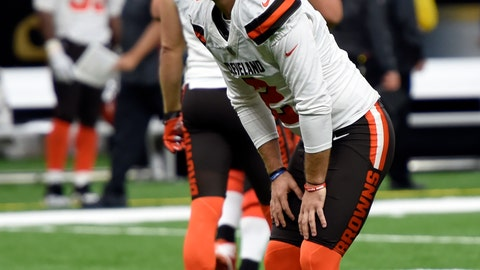 Cleveland Browns kicker Zane Gonzalez reacts after missing an extra point during the second half of an NFL football game against the New Orleans Saints in New Orleans Sunday Sept. 16 2018