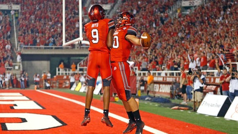 <p>               Utah tight end Brant Kuithe (80) celebrates his touchdown, with wide receiver Bronson Boyd (9) during the second half of an NCAA college football game against Weber State on Thursday, Aug. 30, 2018, in Salt Lake City. (AP Photo/Rick Bowmer)             </p>