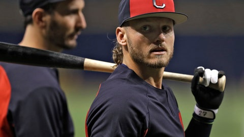 <p>               Cleveland Indians' Josh Donaldson awaits his turn in the batting cage before a baseball game against the Tampa Bay Rays, Monday, Sept. 10, 2018, in St. Petersburg, Fla. Donaldson was acquired in a trade with the Toronto Blue Jays. (AP Photo/Chris O'Meara)             </p>