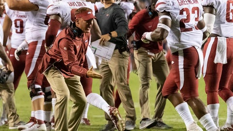 <p>               Arkansas head coach Chad Morris greet his defenders after a 4th-and-one stop of Auburn during the first half of an NCAA college football game, Saturday, Sept. 22, 2018, in Auburn, Ala. (AP Photo/Vasha Hunt)             </p>
