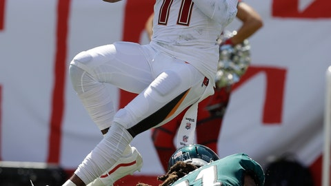 <p>               Tampa Bay Buccaneers wide receiver DeSean Jackson (11) grabs a pass over Philadelphia Eagles cornerback Ronald Darby (21), during the second half of an NFL football game, Sunday, Sept. 16, 2018, in Tampa, Fla. (AP Photo/Chris O'Meara)             </p>
