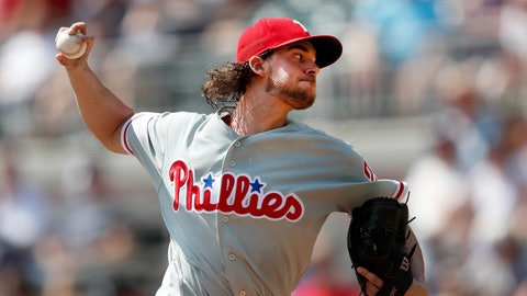 <p>               Philadelphia Phillies starting pitcher Aaron Nola works in the first inning against the Atlanta Braves in a baseball game Sunday, Sept. 23, 2018, in Atlanta. (AP Photo/John Bazemore)             </p>