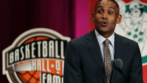 <p>               Grant Hill speaks during induction ceremonies at the Basketball Hall of Fame, Friday, Sept. 7, 2018, in Springfield, Mass. (AP Photo/Elise Amendola)             </p>