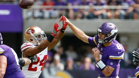 <p>               Minnesota Vikings quarterback Kirk Cousins (8) throws a pass over San Francisco 49ers defensive back K'Waun Williams (24) during the first half of an NFL football game, Sunday, Sept. 9, 2018, in Minneapolis. (AP Photo/Bruce Kluckhohn)             </p>