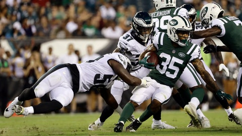 <p>               New York Jets' Charcandrick West (35) is tackled by Philadelphia Eagles' Jordan Hicks (58) during the first half of a preseason NFL football game Thursday, Aug. 30, 2018, in Philadelphia. (AP Photo/Michael Perez)             </p>