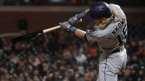 <p>               San Diego Padres' Travis Jankowski swings on a solo home run against the San Francisco Giants during the seventh inning of a baseball game in San Francisco, Wednesday, Sept. 26, 2018. (AP Photo/Jeff Chiu)             </p>