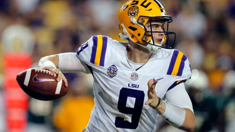 <p>               LSU quarterback Joe Burrow (9) scrambles as he looks for a receiver in the second half of an NCAA college football game against Southeastern Louisiana in Baton Rouge, La., Saturday, Sept. 8, 2018. LSU won 31-0. (AP Photo/Gerald Herbert)             </p>