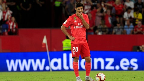 <p>               Real Madrid's Marco Asensio looks on during La Liga soccer match between Sevilla and Real Madrid at the Sanchez Pizjuan stadium, in Seville, Spain on Wednesday, Sept. 26, 2018. (AP Photo/Miguel Morenatti)             </p>