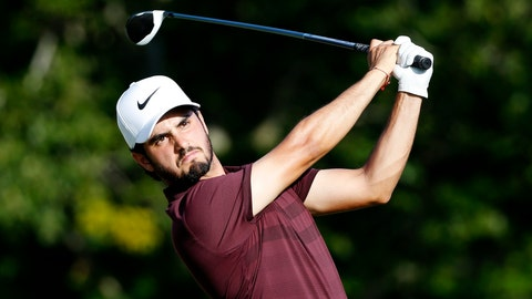 <p>               Abraham Ancer tees off on the 17th hole during the third round of the Dell Technologies Championship golf tournament at TPC Boston in Norton, Mass., Sunday, Sept. 2, 2018. (AP Photo/Michael Dwyer)             </p>