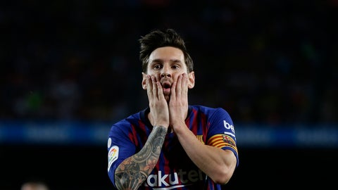 <p>               FC Barcelona's Lionel Messi reacts after missing an opportunity during the Spanish La Liga soccer match between FC Barcelona and Girona at the Camp Nou stadium in Barcelona, Spain, Sunday, Sept. 23, 2018. (AP Photo/Manu Fernandez)             </p>