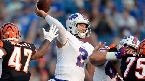 <p>               FILE - In this Aug. 26, 2018, file photo, Buffalo Bills quarterback Nathan Peterman (2) throws a pass during the second half of a preseason NFL football game against the Cincinnati Bengals, in Orchard Park, N.Y. The Buffalo Bills have named Nathan Peterman their starting quarterback in a job the second-year player is expected to hold until rookie first-round pick Josh Allen is deemed ready. The Bills made the announcement on their Twitter account before practice Monday morning, Sept. 3, 2018, as the team prepares for its season opener at Baltimore on Sunday. (AP Photo/Adrian Kraus, File)             </p>