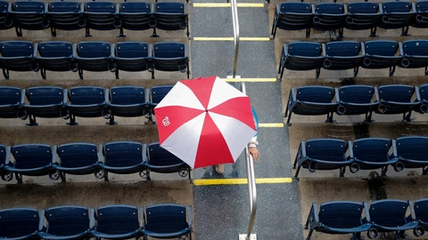 <p>               A fan with a Washington Nationals umbrella walks from Nationals Stadium during a rain delay of a baseball game between the Nationals and the Chicago Cubs, Sunday, Sept. 9, 2018, in Washington. (AP Photo/Carolyn Kaster)             </p>