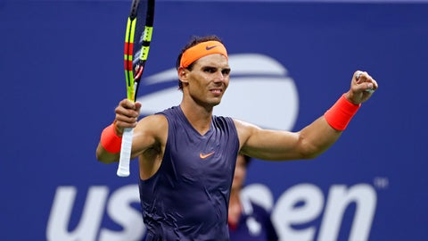 <p>               Rafael Nadal, of Spain, celebrates after defeating Dominic Thiem, of Austria, during the quarterfinals of the U.S. Open tennis tournament, early Wednesday, Sept. 5, 2018, in New York. (AP Photo/Adam Hunger)             </p>