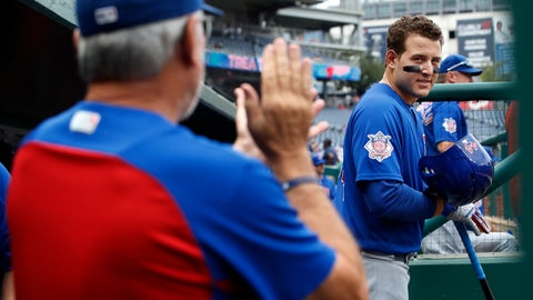 <p>               Chicago Cubs first baseman Anthony Rizzo (44) looks at manager Joe Maddon, left, as Maddon claps for the team at the start of a baseball game against the Washington Nationals, Thursday, Sept. 13, 2018, at Nationals Park in Washington. (AP Photo/Jacquelyn Martin)             </p>