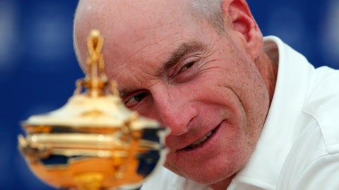 <p>               USA Captain Jim Furyk looks at his European counterpart Thomas Bjorn during a news conference ahead of the Ryder Cup at the Golf National in Guyancourt, outside Paris, France, Monday, Sept. 24, 2018. The 42nd Ryder Cup Matches will be held in France from Sept. 28-30, 2018, at the Albatros Course of Le Golf National. (AP Photo/Francois Mori)             </p>