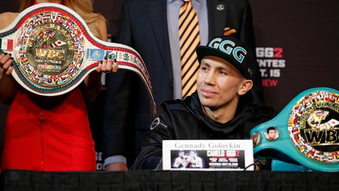 <p>               Gennady Golovkin listens during a news conference Wednesday, Sept. 12, 2018, in Las Vegas. Golovkin is scheduled to fight Canelo Alvarez in a title bout Saturday in Las Vegas. (AP Photo/John Locher)             </p>