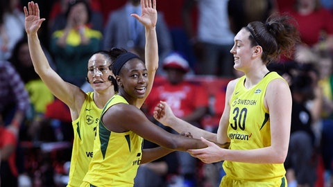 <p>               Seattle Storm guard Sue Bird, back left, Jewell Loyd, center, and Breanna Stewart (30) react during the first half of Game 3 of the WNBA basketball finals against the Washington Mystics, Wednesday, Sept. 12, 2018, in Fairfax, Va. (AP Photo/Nick Wass)             </p>